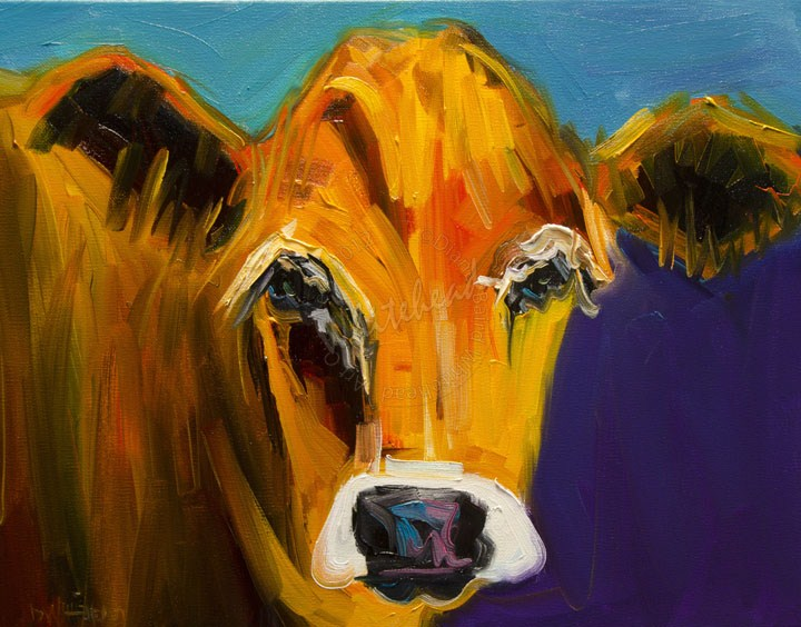 """HOW NOW GOLDEN COW CATTLE ARTOUTWEST DIANE WHITEHEAD FINE ART"" original fine art by Diane Whitehead"
