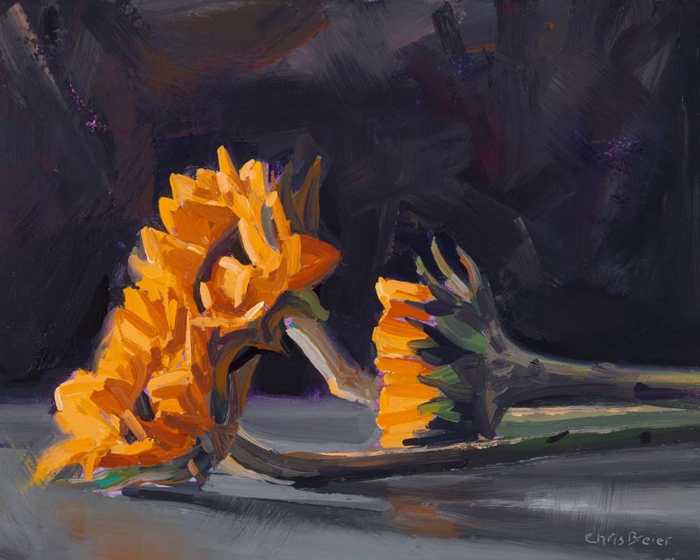 """Three Mini Sunflowers"" original fine art by Chris Breier"