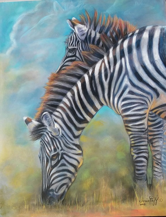 """Zebra"" original fine art by emily Christoff-Flowers"