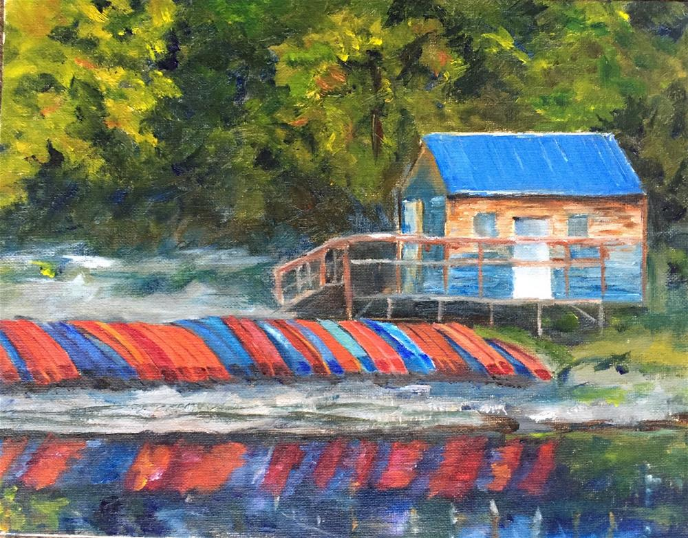 """Broken Bow Boathouse"" original fine art by Renee Robison"