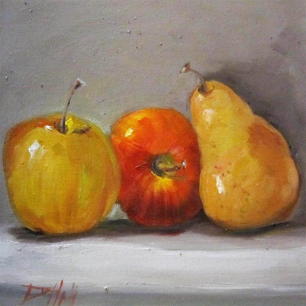 """Two Apples and a Pear"" original fine art by Delilah Smith"