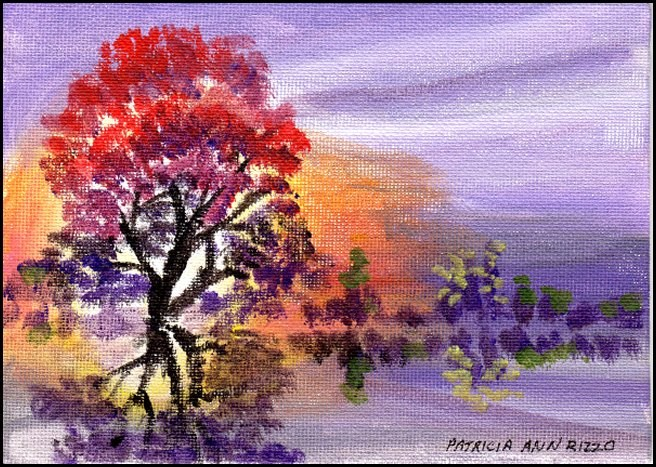 """Autumn on the Lake"" original fine art by Patricia Ann Rizzo"