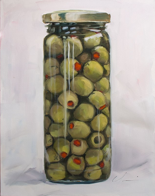 """Jar-O-Olives"" original fine art by Clair Hartmann"