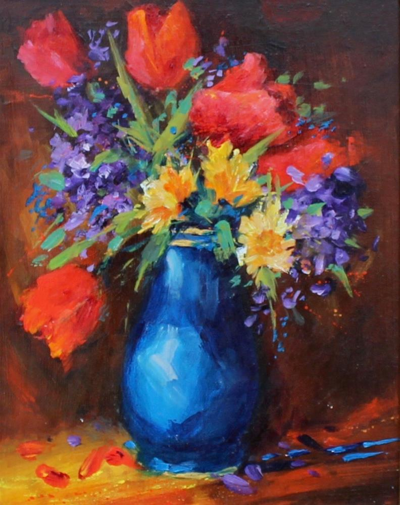 """""""acrylic spring tulip floral painting impressionism"""" original fine art by Alice Harpel"""