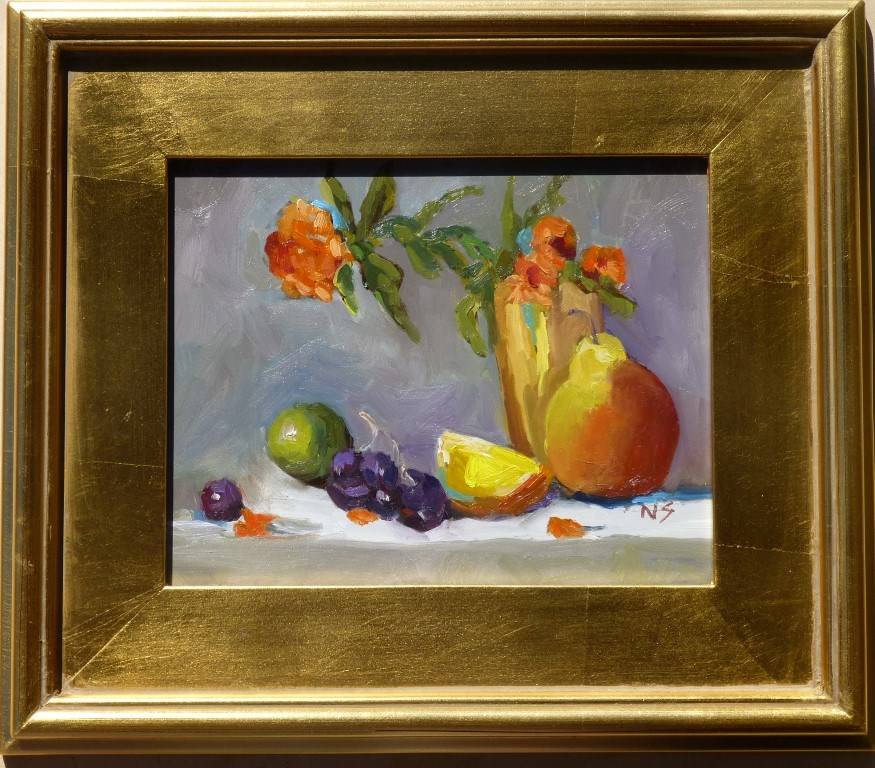 """Pears and Grapes 12054"" original fine art by Nancy Standlee"
