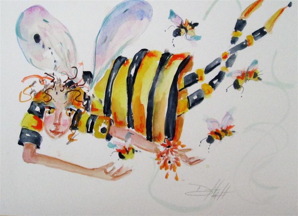 """Bumble Bee Fairy No. 2"" original fine art by Delilah Smith"