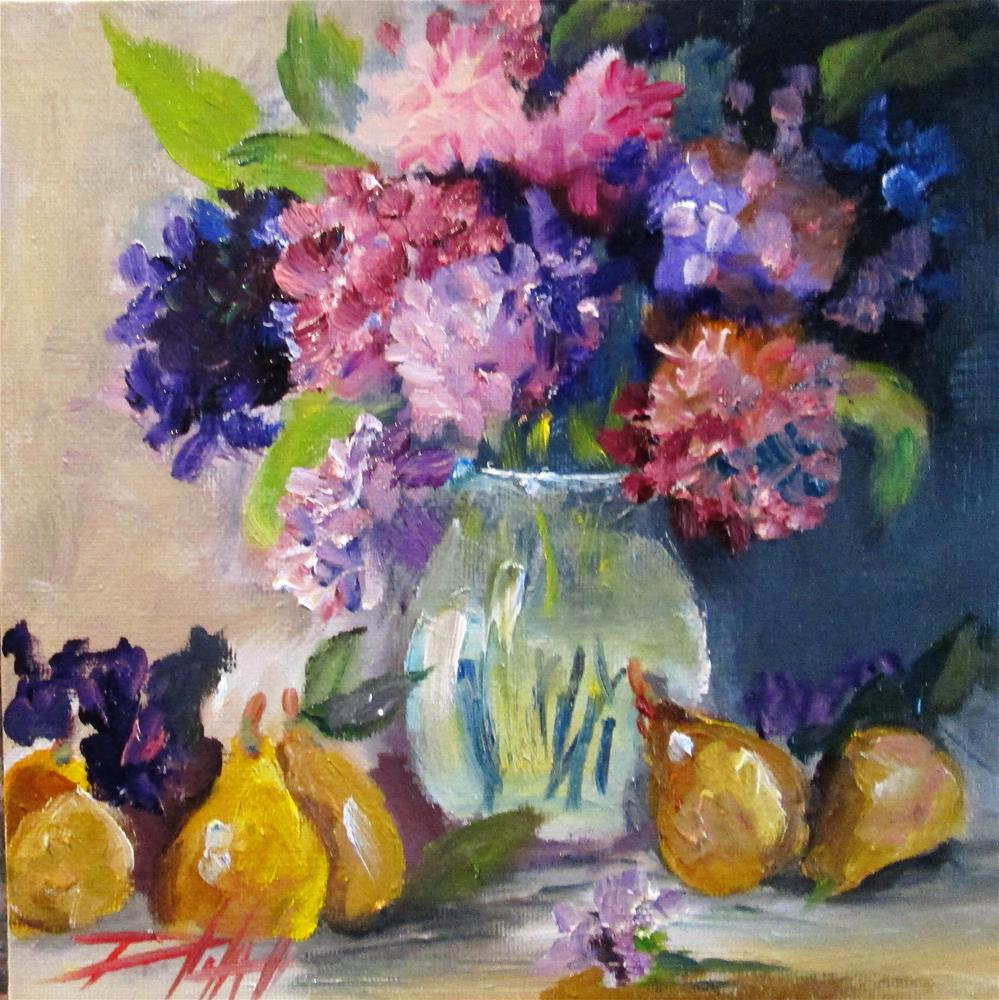 """Flowers and Pears"" original fine art by Delilah Smith"