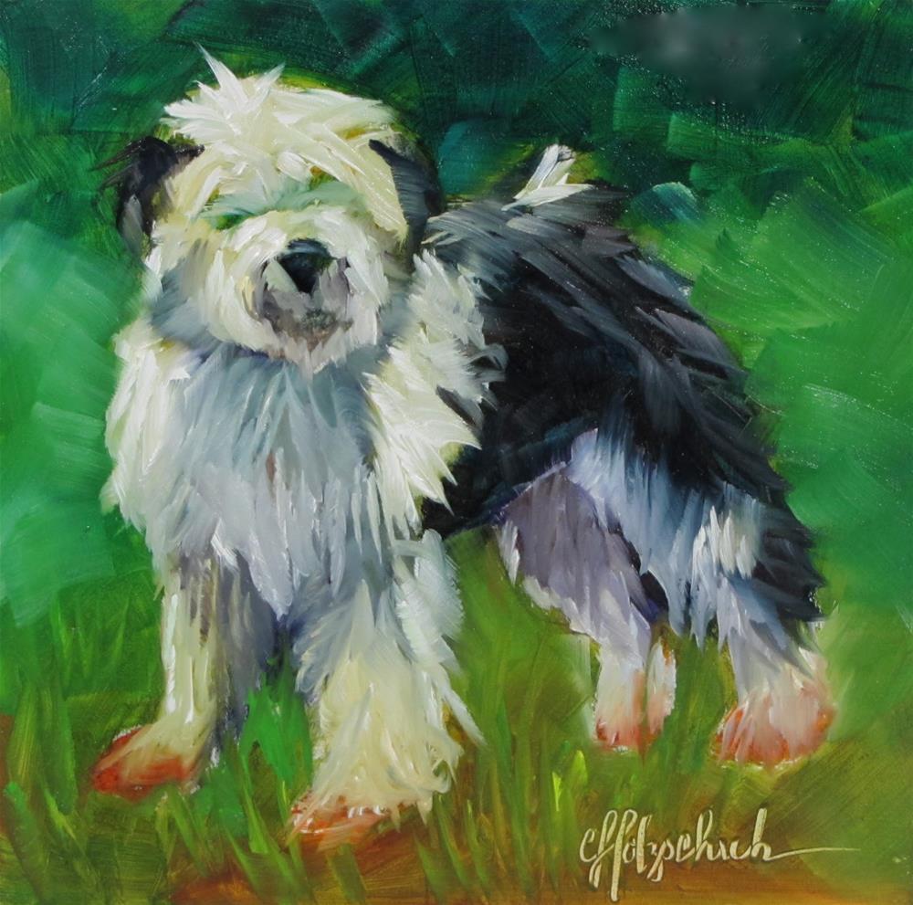 """Woof!"" original fine art by Christine Holzschuh"