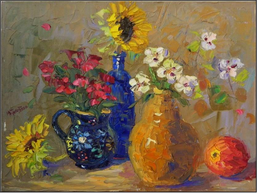 """Window Sill Neighbors, 14x11, oil on canvas, left over paint, mud, impasto, palette knife floral,"" original fine art by Maryanne Jacobsen"