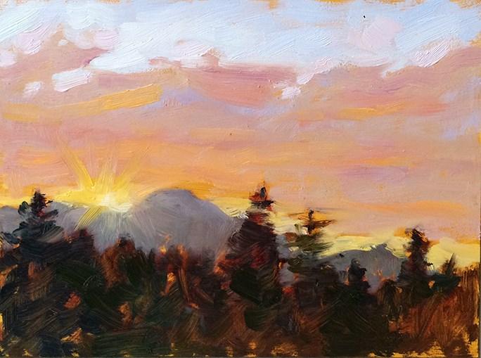 """Sunset over Mt. Tam"" original fine art by Deborah Newman"
