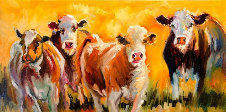"""ARTOUTWEST YOU TALKING TO ME? COWS CATTLE ANIMAL ART OIL PAINTING LARGE BY DIANE WHITEHEAD"" original fine art by Diane Whitehead"