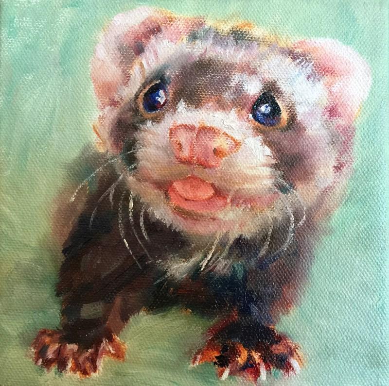 """Ferret"" original fine art by Joy Cai"
