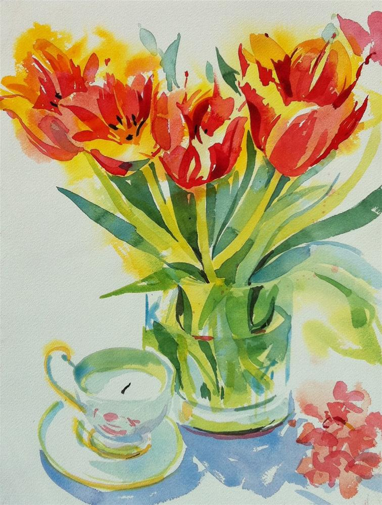"""Tulips and teacup"" original fine art by Haidee-Jo Summers ROI"