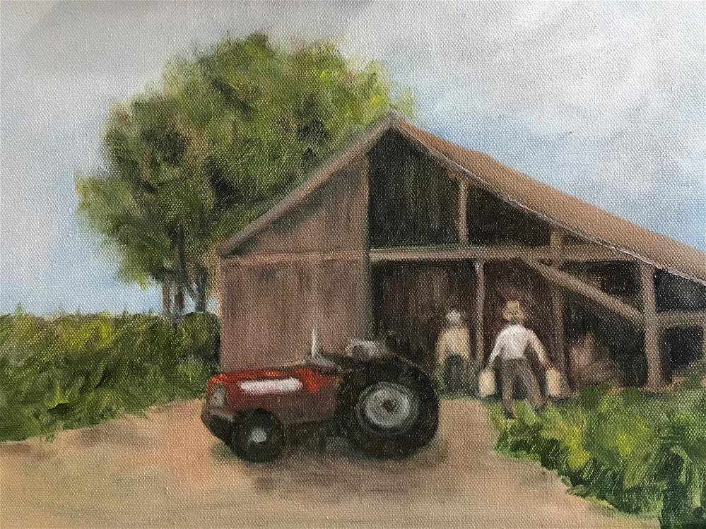 """the little red tractor"" original fine art by Betty Argiros"