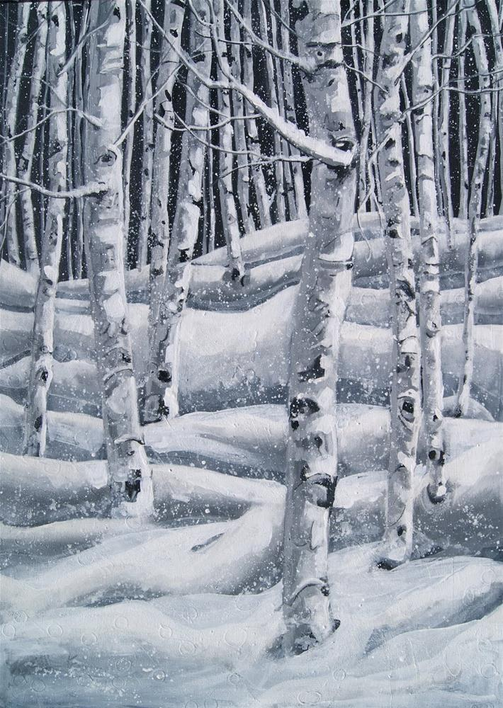 """""""Snowflakes in the Aspen Forest"""" original fine art by Reveille Kennedy"""
