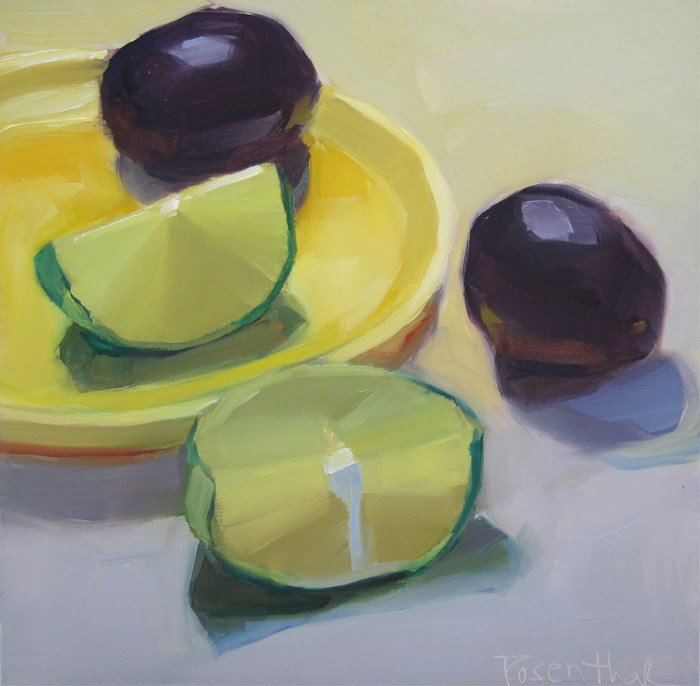 """Lime Wedges and Plums"" original fine art by Robin Rosenthal"