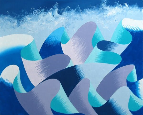 """Mark Webster - Waves #2 - Abstract Geometric Ocean Landscape Oil Painting"" original fine art by Mark Webster"