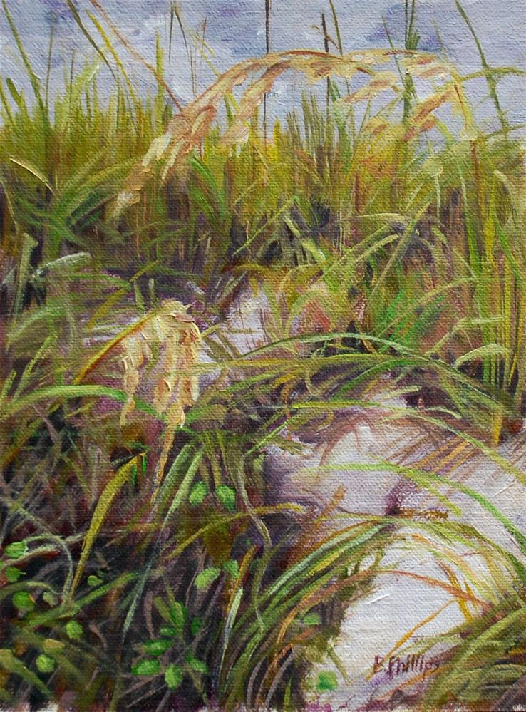 """""""Sand and sea oats"""" original fine art by Beverley Phillips"""