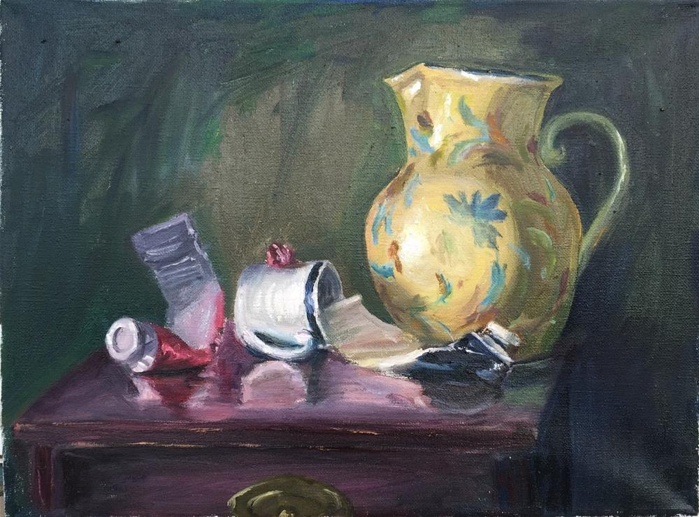 """""""Water Pitcher and Paint Tubes"""" original fine art by Rick Blankenship"""
