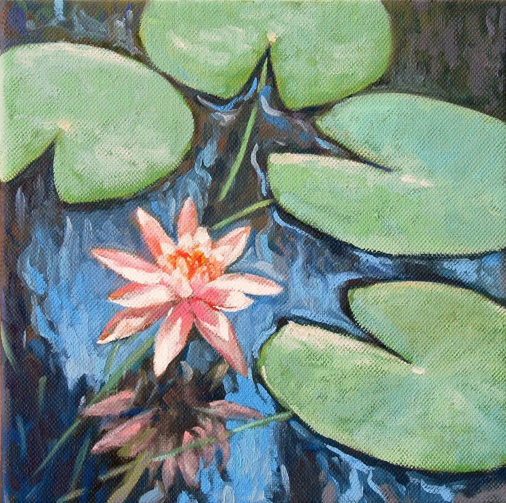 """Blooming Water Lily-Painting of Water Lily Pond"" original fine art by Joanna Bingham"