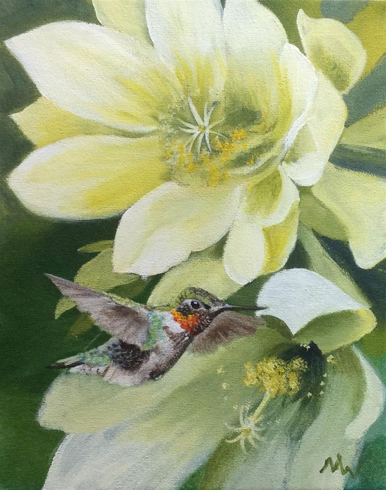 """""""Orchid Cactus and Hummer"""" original fine art by Michelle Wolfe"""