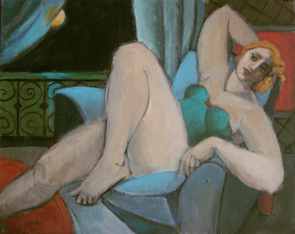 """""""Bathing in moonlight, figurative acrylic painting, woman, moon, contemporary figurative art, figuration, modern f"""" original fine art by Marie Fox"""