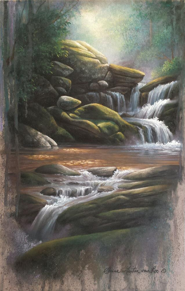 """Woodland Cascade #2 "" original fine art by Elaine Guitar van Loo"