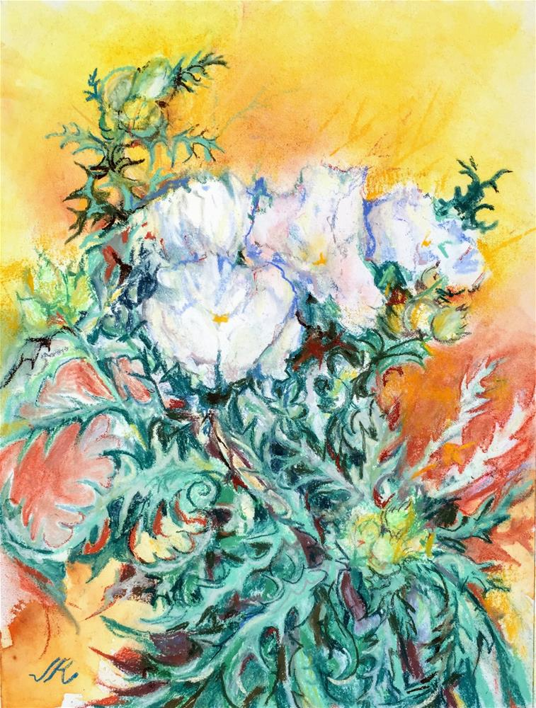 """White Poppies"" original fine art by Jean Krueger"