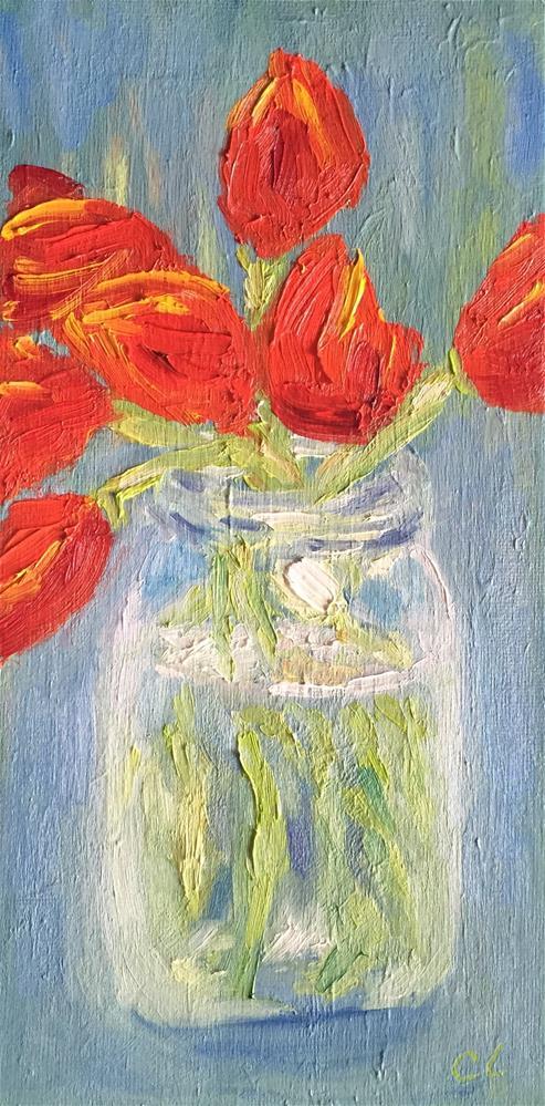 """Tulips in a jar"" original fine art by Cheree Apalona Lueck"
