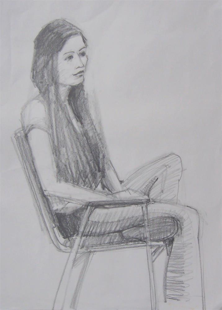 """Victoria,figure,graphite drawing on paper,24x18,price$100"" original fine art by Joy Olney"