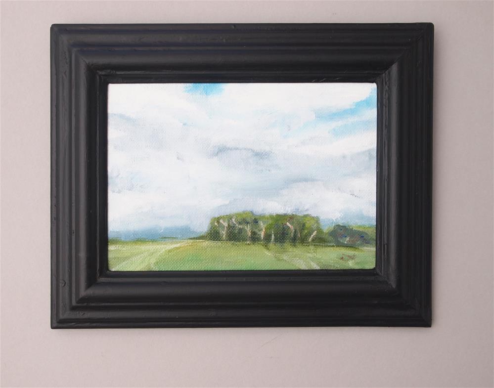 """Oil Painting Trees Green Fields Grey White Clouds Blue Sky English Countryside Outdoors Hillside Tracks Art Framed Matt Black Canvas Board"" original fine art by Susan Gisborne"
