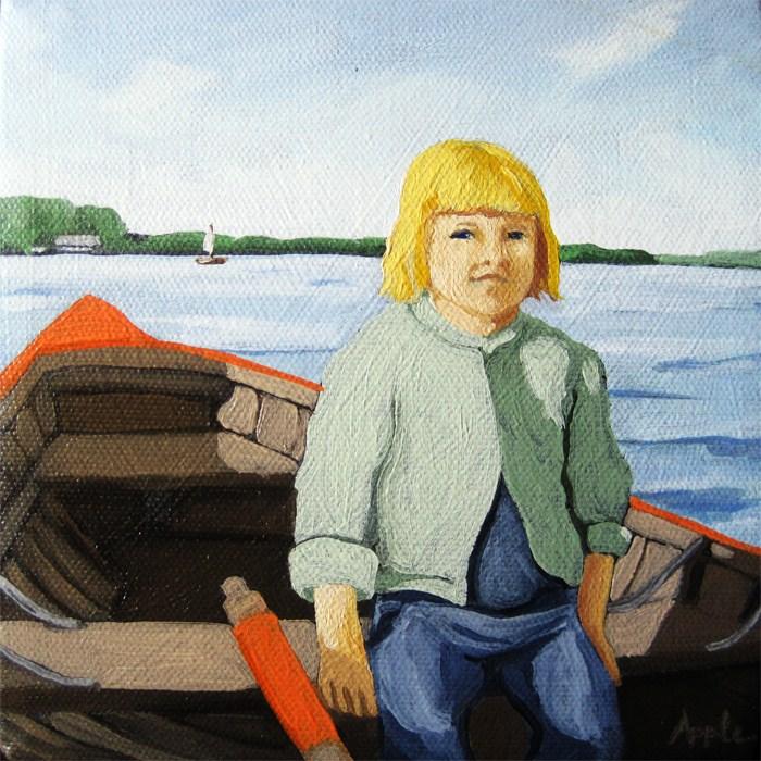 """Mary's boat ride - figurative art oil painting"" original fine art by Linda Apple"