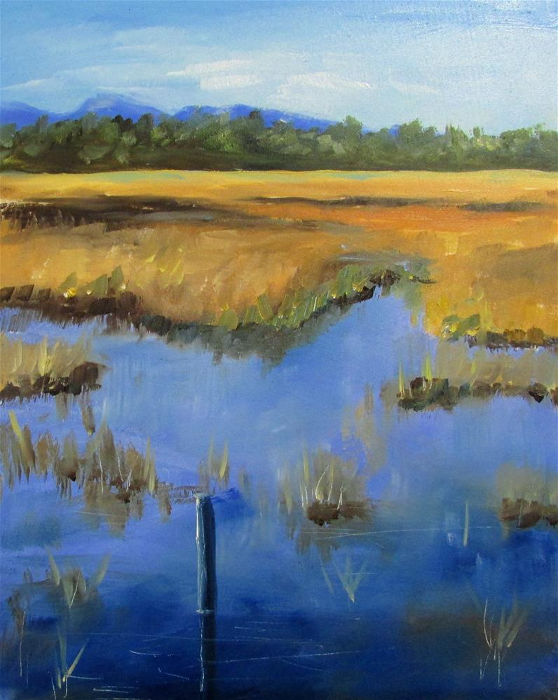 """8 X 10 INCH oil Study of Hamilton Marsh"" original fine art by Linda Yurgensen"