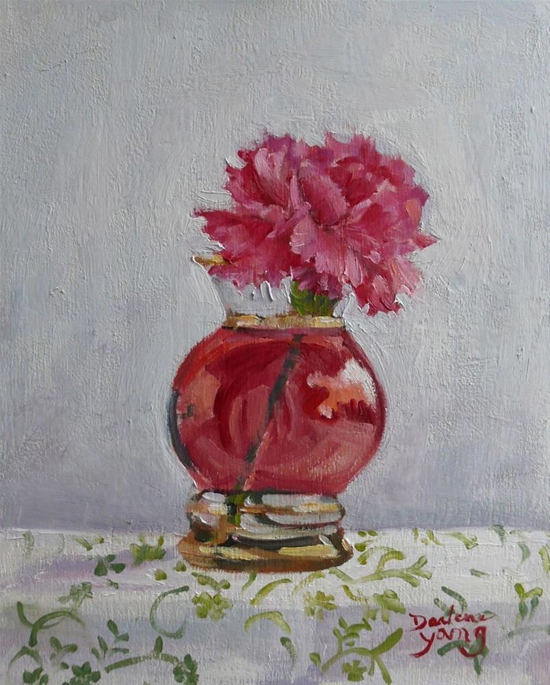 """""""837 Little Carnation, oil on board, 8x10"""" original fine art by Darlene Young"""