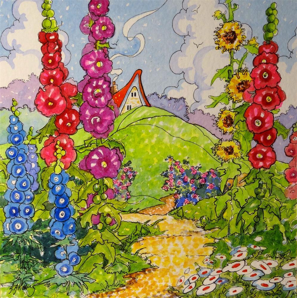 """Summer Spires Storybook Cottage Series"" original fine art by Alida Akers"