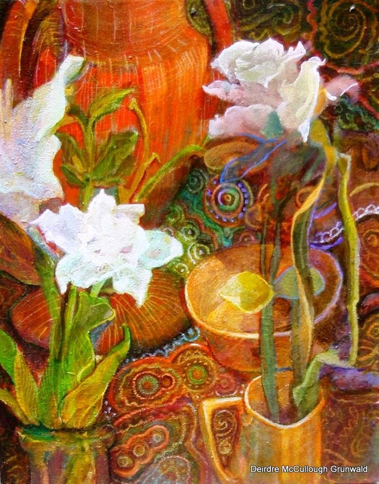 """Stillife with Three White Flowers,Red Vase"" original fine art by Deirdre McCullough Grunwald"