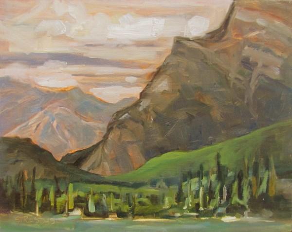 """Greens by Mt Rundle"" original fine art by Marcela Strasdas"