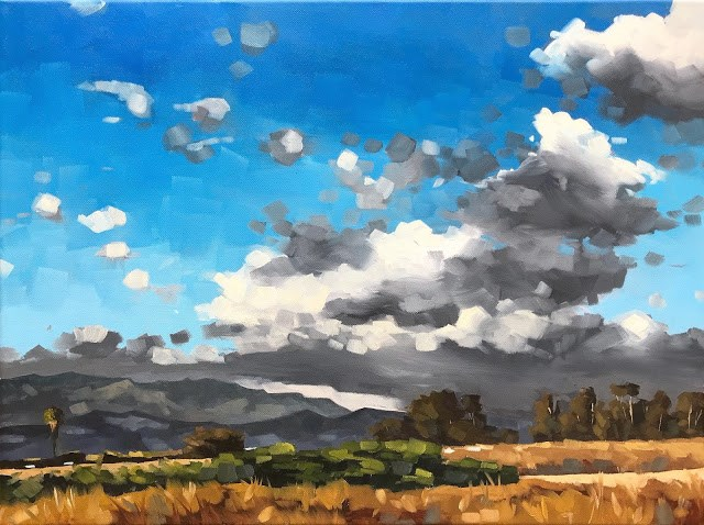 """Storm Clouds over Carpinteria - 18x24"" original fine art by Sharon Schock"