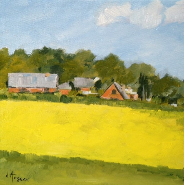 """Yellow Field II"" original fine art by Karen D'angeac Mihm"
