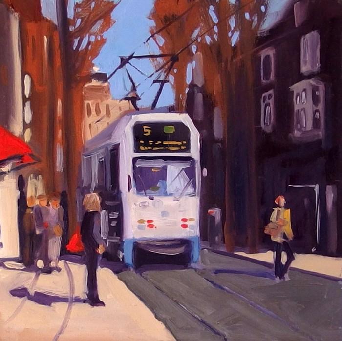 """No 727 Amsterdam Streetcar"" original fine art by Robin J Mitchell"
