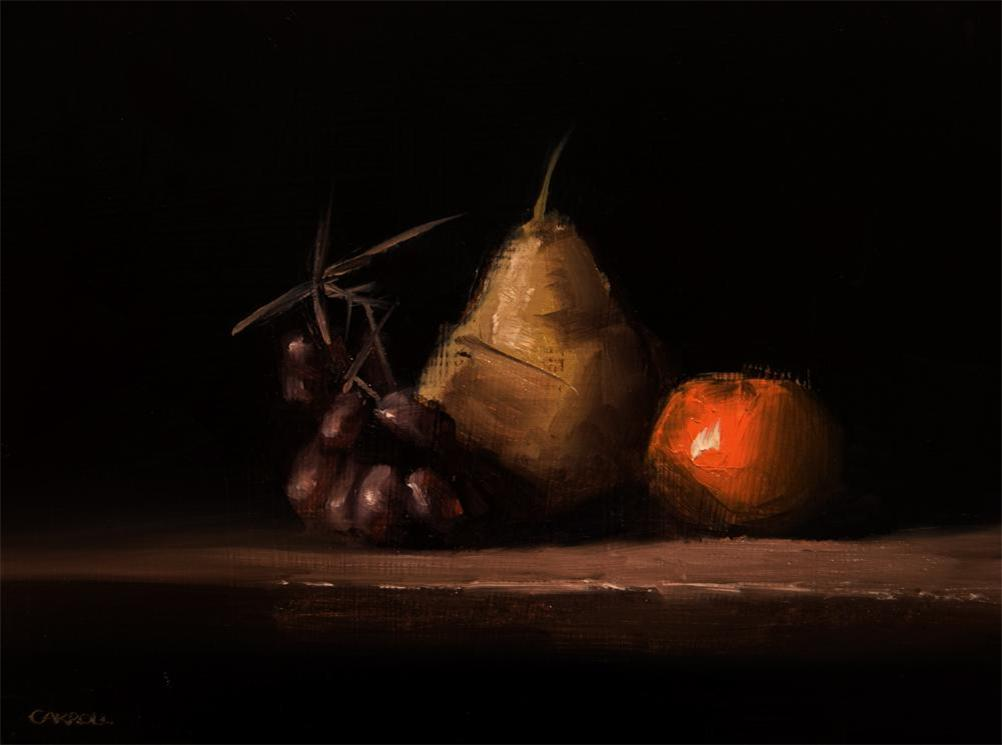 """""""Pear, Clementine and Grapes"""" original fine art by Neil Carroll"""
