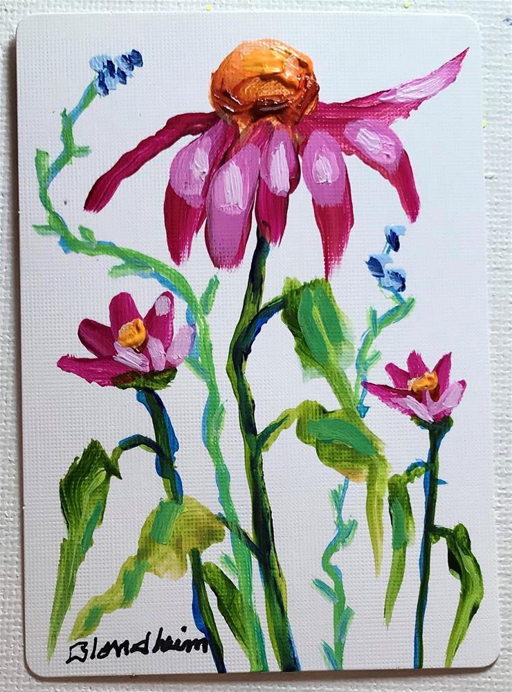 """Cone Flowers Miniatures"" original fine art by Linda Blondheim"