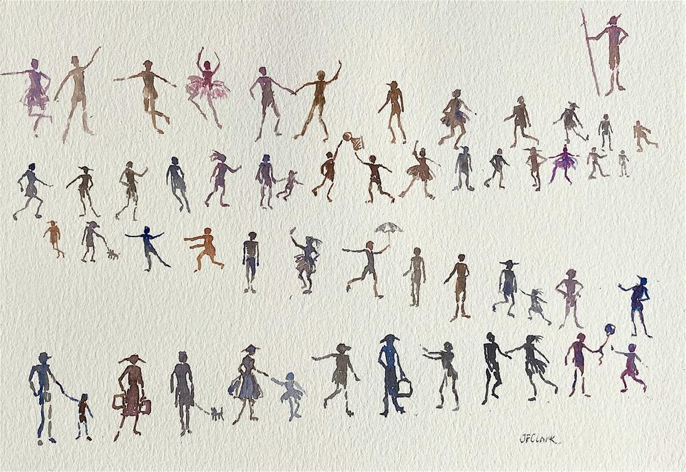 """People Parade #5"" original fine art by Judith Freeman Clark"