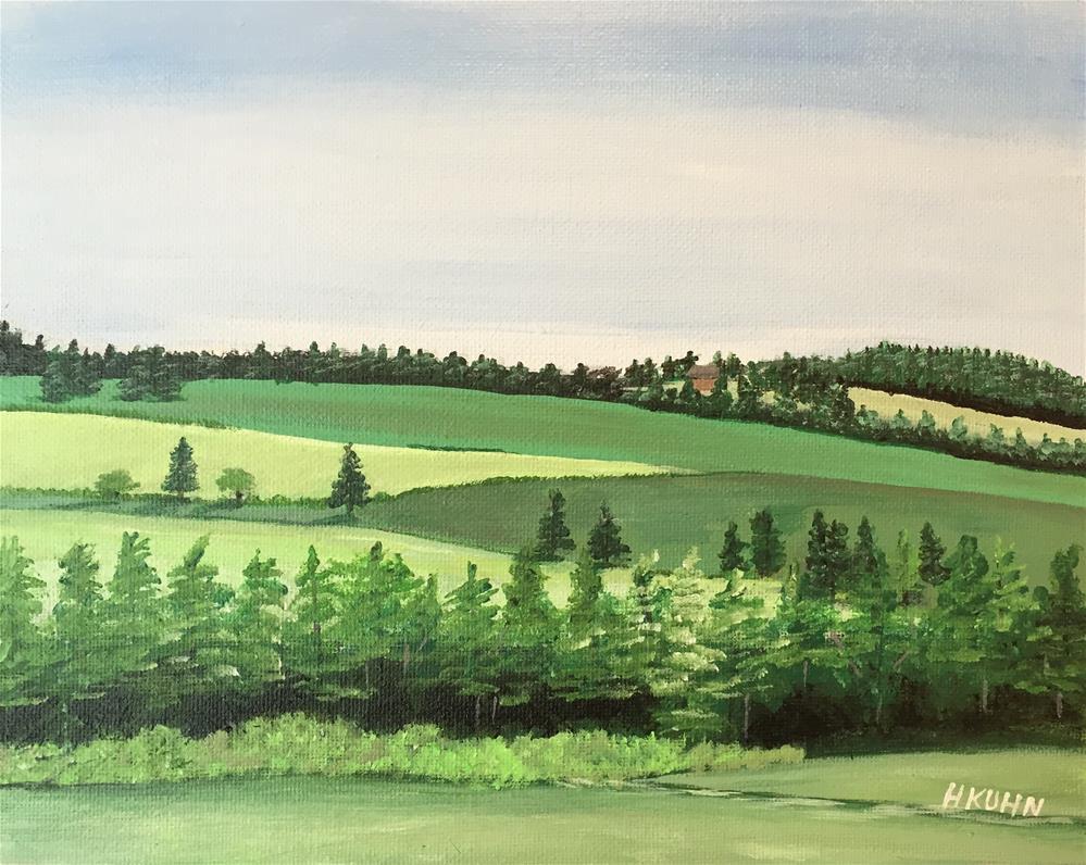 """""""Green Hills"""" original fine art by Helen Kuhn"""