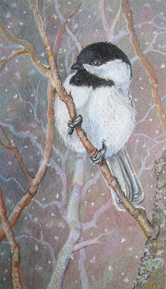 """A Chickadee Puffball"" original fine art by Alida Akers"
