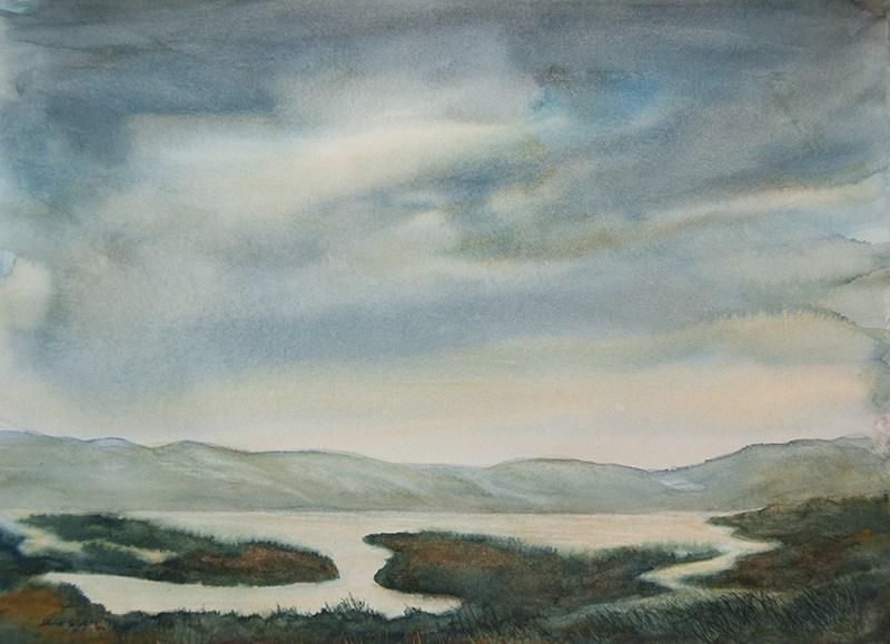 """Tomales Bay"" original fine art by Jean Lurssen"