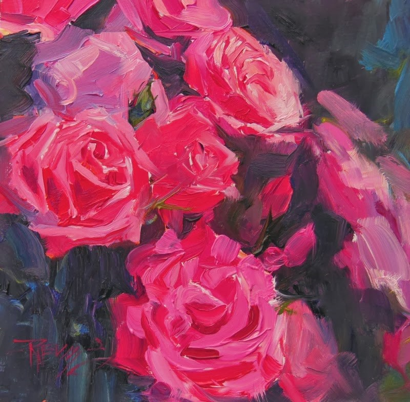 """""""Red Red Rose  rose series #2, oil painting by Robin Weiss"""" original fine art by Robin Weiss"""