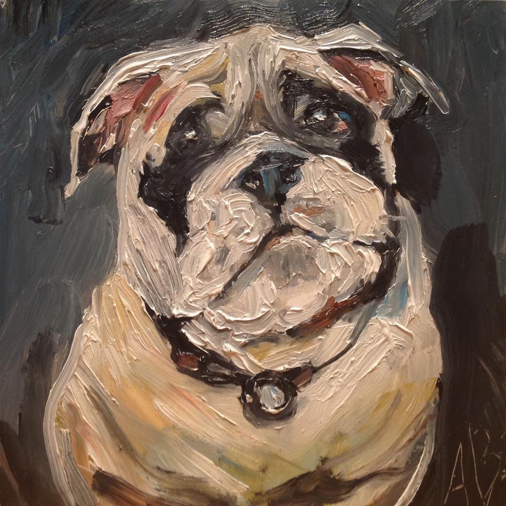 """""""Bull Dog Face"""" original fine art by Annette Balesteri"""
