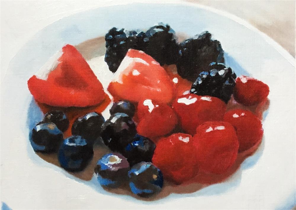 """Berries On A Plate"" original fine art by John Cameron"