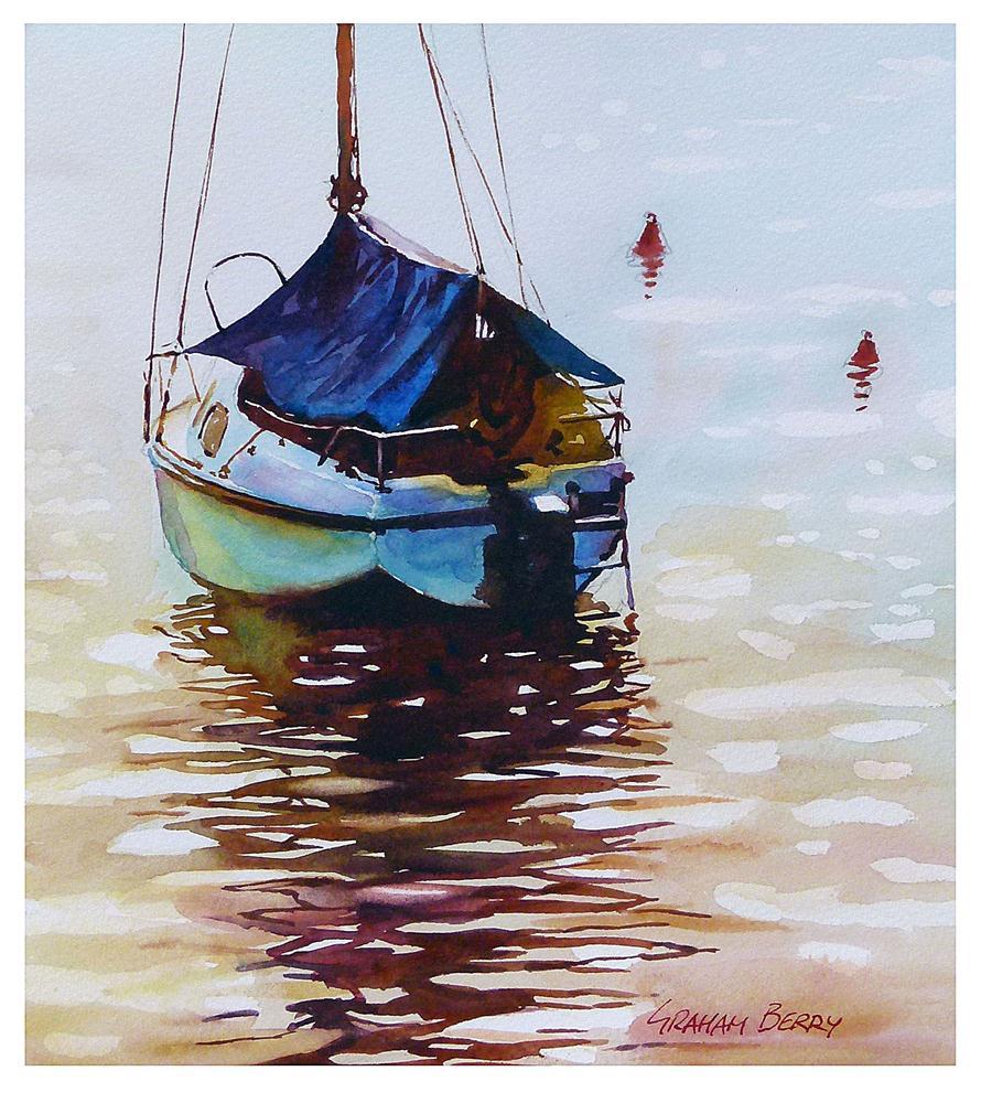 """Boat with blue tarp."" original fine art by Graham Berry"